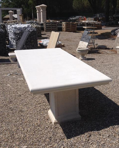Stone garden tables and benches